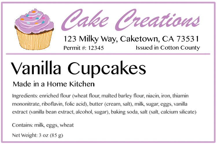 example label for home baking business